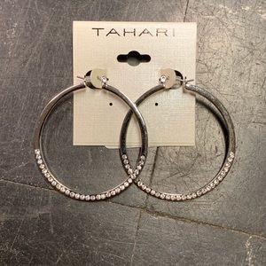 Tahari Silver Rhinestone Hoop Earrings